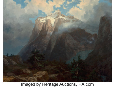 ALBERT BIERSTADT (American, 1830-1902)Mount Brewer from King's River Canyon, California, 1872Oil on canvas36 x 47 ... (Total: 2 Items)