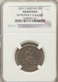 Seated Quarters, 1855-S 25C Arrows -- Improperly Cleaned -- NGC Details. AU. NGCCensus: (1/11). PCGS Population (2/18). Mintage: 396,40...