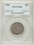 Seated Quarters: , 1845 25C MS62 PCGS. PCGS Population (13/27). NGC Census: (9/39).Mintage: 922,000. Numismedia Wsl. Price for problem free N...