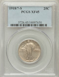 Standing Liberty Quarters: , 1918/7-S 25C XF45 PCGS. PCGS Population (46/221). NGC Census:(28/119). Numismedia Wsl. Price for problem free NGC/PCGS co...