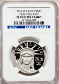 Modern Bullion Coins, 2010-W $100 One-Ounce Platinum Eagle Early Releases PR69 UltraCameo NGC. PCGS Population (775/588). (...
