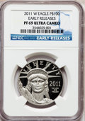 Modern Bullion Coins, 2011-W $100 One-Ounce Platinum American Eagle, First Strike/EarlyReleases PR69 Ultra Cameo NGC. PCGS Po...
