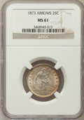 Seated Quarters: , 1873 25C Arrows MS61 NGC. NGC Census: (11/103). PCGS Population(8/106). Mintage: 1,271,700. Numismedia Wsl. Price for prob...