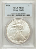 Modern Bullion Coins: , 1996 $1 Silver Eagle MS69 PCGS. PCGS Population (4865/0). NGCCensus: (80731/128). Mintage: 3,603,386. Numismedia Wsl. Pric...