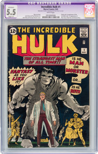 The Incredible Hulk #1 (Marvel, 1962) CGC Apparent FN- 5.5 Slight (P) White pages