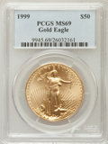 Modern Bullion Coins: , 1999 G$50 One-Ounce Gold Eagle MS69 PCGS. PCGS Population(1408/10). NGC Census: (1249/97). Numismedia Wsl. Price for prob...