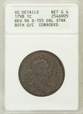 Large Cents, 1798 1C Both O/C Reverse of 1796 -- Double Struck, Corroded --ANACS. VG Details Net Good 4.S-155. PCGS ...