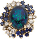Estate Jewelry:Rings, Black Opal, Sapphire, Diamond, Gold Ring. ...
