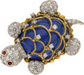 Estate Jewelry:Brooches - Pins, Lapis Lazuli, Diamond, Ruby, Gold Brooch, Tobias. ...