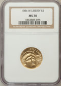 Modern Issues: , 1986-W G$5 Statue of Liberty Gold Five Dollar MS70 NGC. NGC Census:(1998). PCGS Population (306). Mintage: 95,248. Numisme...