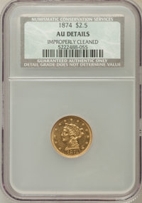 1874 $2 1/2 -- Improperly Cleaned -- NCS. AU50 Details. NGC Census: (3/91). PCGS Population (10/49). Mintage: 3,940. Num...