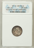 Early Half Dimes, 1801 H10C -- Tooled Edge, Damage -- ANACS. XF40 Details. NGCCensus: (2/13). PCGS Population (1/18). Mintage: 27,760. N...