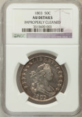 Early Half Dollars, 1803 50C Large 3 -- Improperly Cleaned -- NGC Details. AU. NGCCensus: (16/748). PCGS Population (14/25). Mintage: 188,234....