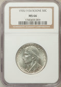 Commemorative Silver: , 1935/34 50C Boone MS66 NGC. NGC Census: (248/44). PCGS Population(229/39). Mintage: 10,008. Numismedia Wsl. Price for prob...