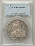 Seated Dollars, 1872-CC $1 -- Cleaning -- PCGS Genuine. This PCGS number ending in92 suggests Cleaning as the reason, or perhaps one of th...