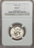 Washington Quarters, 1942 25C MS67 NGC....