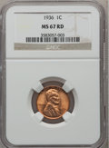 1936 1C MS67 Red NGC. NGC Census: (683/1). PCGS Population: (310/1). CDN: $150 Whsle. Bid for problem-free NGC/PCGS MS67...