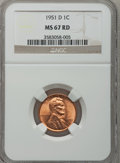Lincoln Cents: , 1951-D 1C MS67 Red NGC. NGC Census: (338/0). PCGS Population(67/0). Mintage: 625,355,008. Numismedia Wsl. Price for proble...