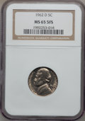 Jefferson Nickels, 1962-D 5C MS65 Five Full Steps NGC....