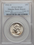 Washington Quarters: , 1943-D 25C MS65 PCGS. Ex: Omaha Bank Hoard. PCGS Population(658/490). NGC Census: (239/531). Mintage: 16,095,600. Numismed...
