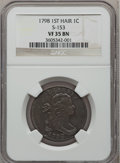 Large Cents, 1798 1C First Hair Style VF35 NGC. S-153, B-12, R.3....