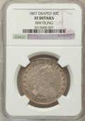 Early Half Dollars, 1807 50C Draped Bust -- Rim Filing-- NGC Details. XF. NGC Census:(98/1112). PCGS Population (119/373). Mintage: 301,07...