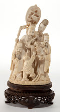 Asian:Chinese, A CHINESE CARVED IVORY FIGURAL GROUP . Late Qing Dynasty . 7-1/8inches high (18.1 cm). ...