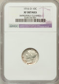 Mercury Dimes, 1916-D 10C -- Improperly Cleaned -- NGC Details. XF. NGC Census:(31/188). PCGS Population (87/359). Mintage: 264,000. Numi...