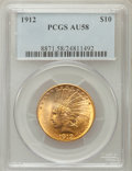 Indian Eagles: , 1912 $10 AU58 PCGS. PCGS Population (676/3905). NGC Census:(766/5431). Mintage: 405,083. Numismedia Wsl. Price for problem...