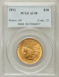 Indian Eagles: , 1911 $10 AU58 PCGS. PCGS Population (1123/5591). NGC Census:(1080/7875). Mintage: 505,595. Numismedia Wsl. Price for probl...