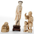 Asian:Japanese, A GROUP OF THREE IVORY FIGURES . 20th century . 4-1/2 inches high(11.4 cm) (tallest including stand). ... (Total: 3 Items)