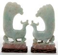 Asian:Chinese, A PAIR OF CHINESE CARVED JADE AND ROSE QUARTZ PEACOCKS . Late QingDynasty. 9-3/4 inches high (24.8 cm). ... (Total: 2 Items)