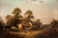 Fine Art - Painting, European, ENGLISH SCHOOL (19th Century). Farmyard, Dorking, Surrey.Oil on canvas. 14 x 21 inches (35.6 x 53.3 cm). ...