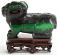 Asian:Chinese, A CHINESE JADE FOO DOG . Late Qing Dynasty. 4-1/2 inches high (11.4cm). ...
