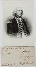 Autographs:Military Figures, Richard Howe, 1st Earl Howe (1726-1799, British Naval Officer).Clipped Signature. Very good....