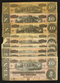 Confederate Notes:1864 Issues, T68 $10 1864 Nine Examples.. ... (Total: 9 notes)