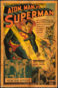 "Atom Man vs. Superman (Columbia, 1950). Autographed One Sheet (26.75"" X 41"") Chapter 2 -- ""Atom Man Appea..."