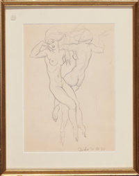 DONALD HARCOURT DE LUE (American, 1900-1988) Pair of Nude Sketches, 1928; 1930 Pencil on paper 1