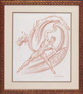 Works on Paper, DONALD HARCOURT DE LUE (American, 1900-1988). Greek God sketches (3), 1986 (2); 1988. Pencil and sanguine on paper. 20 x... (Total: 3 Items)