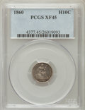 Seated Half Dimes: , 1860 H10C XF45 PCGS. PCGS Population (11/450). NGC Census: (1/461).Mintage: 799,000. Numismedia Wsl. Price for problem fre...