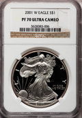 Modern Bullion Coins: , 2001-W $1 Silver Eagle PR70 Ultra Cameo NGC. NGC Census: (3419).PCGS Population (618). Numismedia Wsl. Price for problem ...