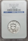 Modern Bullion Coins, 2006 $50 Half-Ounce Platinum Early Releases MS69 NGC. PCGSPopulation (340/29). Numismedia Wsl. Price f...