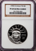 Modern Bullion Coins: , 1998-W P$100 One-Ounce Platinum Eagle PR69 Ultra Cameo NGC. NGCCensus: (801/379). PCGS Population (1484/103). Mintage: 26,...