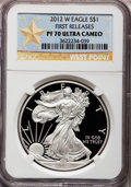 Modern Bullion Coins, 2012-W $1 One-Ounce Silver American Eagle, First Releases PR70Ultra Cameo NGC. NGC Census: (2117). PCGS Population (4638)....