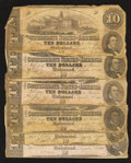 Confederate Notes:1862 Issues, T52 $10 1862 Six Examples.. ... (Total: 6 notes)