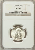 Washington Quarters: , 1943-S 25C MS65 NGC. NGC Census: (360/598). PCGS Population(718/543). Mintage: 21,700,000. Numismedia Wsl. Price for probl...