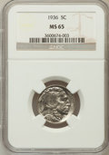Buffalo Nickels: , 1936 5C MS65 NGC. NGC Census: (895/1085). PCGS Population(2122/1212). Mintage: 119,001,424. Numismedia Wsl. Price forprob...