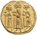 Ancients:Byzantine, Ancients: Heraclius, with Heraclius Constantine and Heraclonas (AD610-641). AV solidus (19mm, 4.07 gm, 6h)....