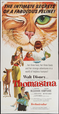 "The Three Lives of Thomasina and Other Lot (Buena Vista, 1964). Three Sheets (2) (41"" X 78"" & 83.5"")..."