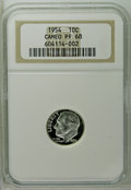Proof Roosevelt Dimes: , 1954 10C PR68 Cameo NGC. NGC Census: (97/7). PCGS Population(16/1). (#85229)...